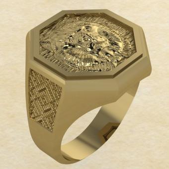 Кольцо Велеса с медведем золото