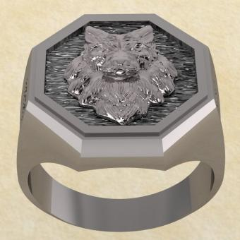 Славянское Кольцо Велеса с волком из серебра