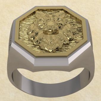 Славянское Кольцо Велеса с волком из серебра с золотом
