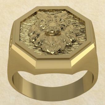 Славянское Кольцо Велеса с волком из золота
