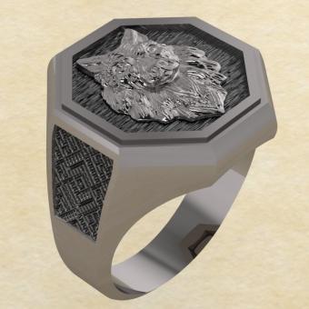 Кольцо Велеса с волком серебро