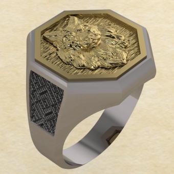 Кольцо Велеса с волком серебро с золотом