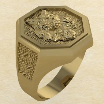 Кольцо Велеса с волком золото