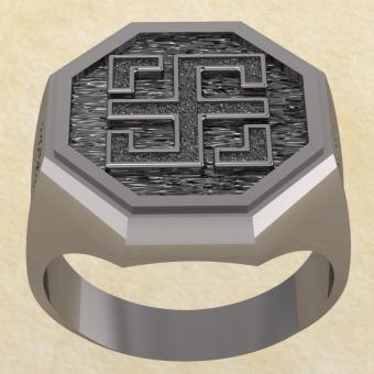 Славянское кольцо-оберег Всецлавец из серебра