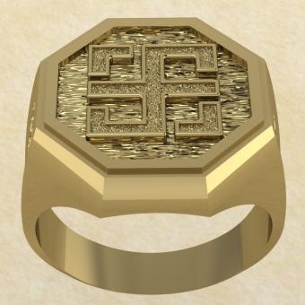 Славянское кольцо-оберег Всецлавец золото