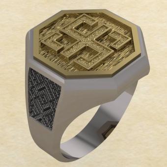 Кольцо-оберег Всецлавец серебро с золотом