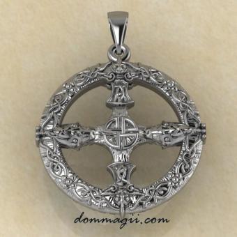 Оберег компас Викингов серебро