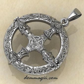 Амулет компас Викингов из серебра