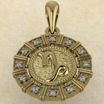 Подвеска Козерог золото с бриллиантами