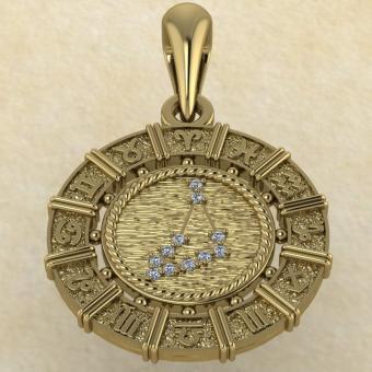 Знак зодиака Подвеска Козерог золото с бриллиантами