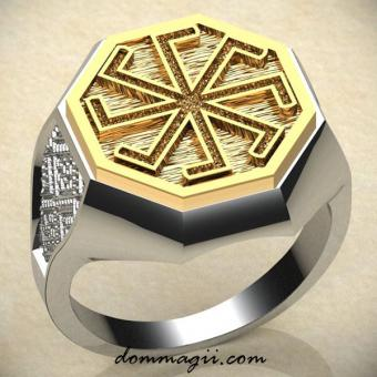 Кольцо ладинец с золотом