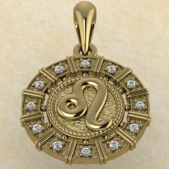Подвеска Лев золото с бриллиантами