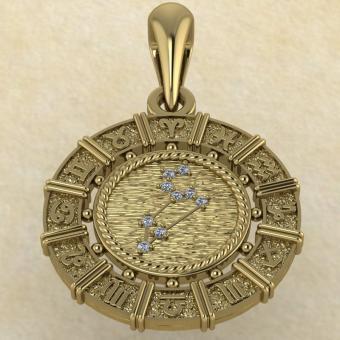 Знак зодиака Подвеска Лев золото с бриллиантами