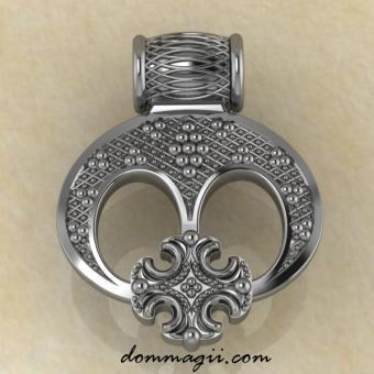 Лунница трехрогая с крестом серебро