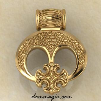 Женская Славянский оберег Лунница трехрогая с крестом из золота