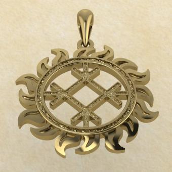 Славянский оберег Целебник из золота