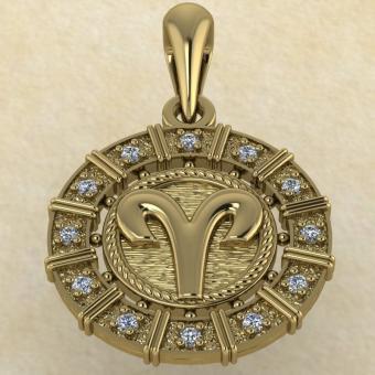 Подвеска Овен золото с бриллиантами
