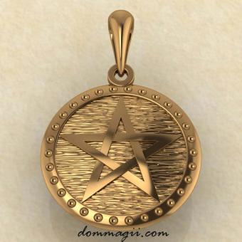 Подвеска Пентограмма из красного  золота