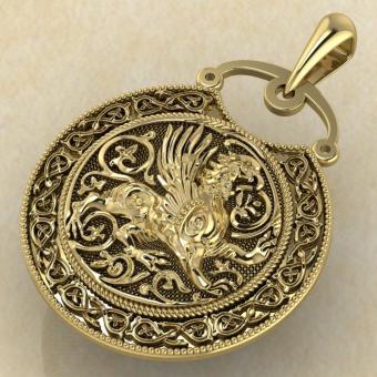 Подвеска Грифон желтое золото
