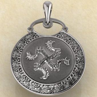 Подвеска Коловрат с изображением коня, быка, грифона и птицы из серебра