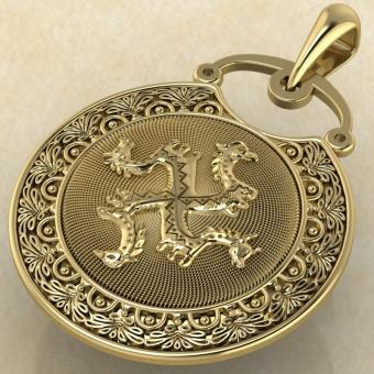 Подвеска Коловрат с изображением коня, быка, грифона и птицы желтое золото