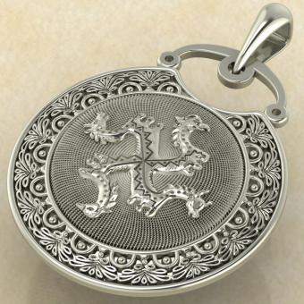 Подвеска Коловрат с изображением коня, быка, грифона и птицы белое золото