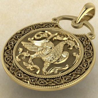 Подвеска Суздальская Птица желтое золото