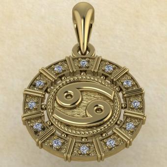 Подвеска Рак золото с бриллиантами