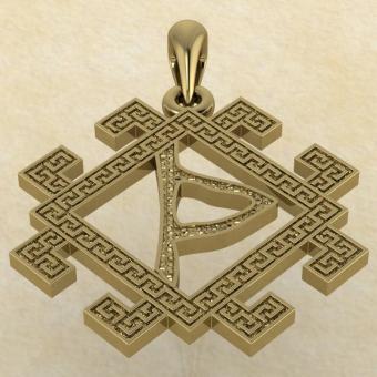 славянская руна Даждьбог из золота