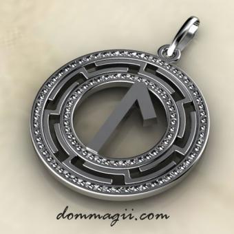 Рунический амулет Лагуз серебро