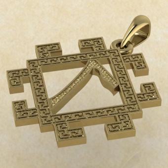 Подвеска славянская руна Леля из золота
