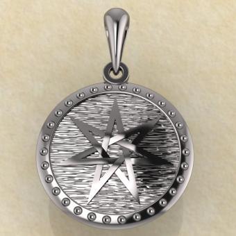 Семиконечная звезда, септаграмма серебро