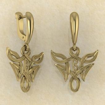 Серьги Беркана в вязи из золота купить