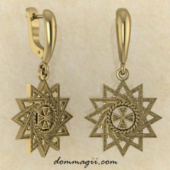 Серьги Звезда Эрцгаммы из желтого золота