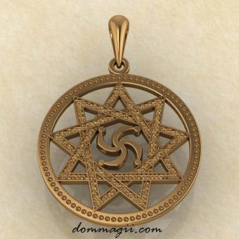 Славянский Символ Рода в звезде Инглии из красного золота