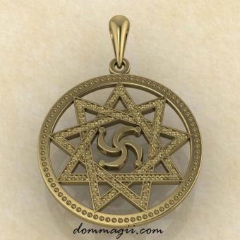 Славянский Символ Рода в звезде Инглии из желтого золота