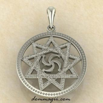 Славянский Символ Рода в звезде Инглии из белого золота