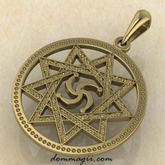 Символ Рода в звезде Инглии из желтого золота