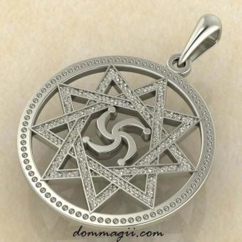Символ Рода в звезде Инглии из белого золота