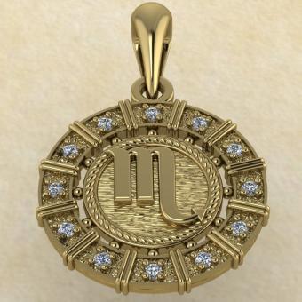 Подвеска Скорпион золото с бриллиантами
