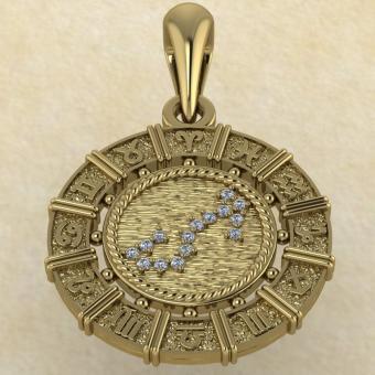 Знак зодиака Подвеска Скорпион золото с бриллиантами