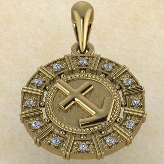 Подвеска Стрелец золото с бриллиантами