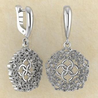 Серьги Волны изобилия со свадебником из серебра от мастерской BROKKA