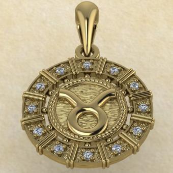 Подвеска Телец золото с бриллиантами