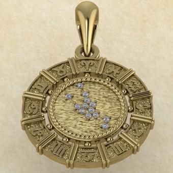 Знак зодиака Подвеска Телец золото с бриллиантами