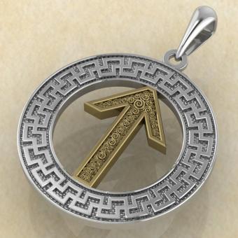 Руна «ТЕЙВАЗ» в солярном обережном круге с золотом