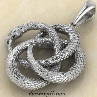 Талисман Уроборос купить из серебра от мастерской Брокка