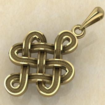 Амулет Узел удачи, любви и процветания желтое золото