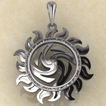 Славянский оберег Вайга в солнце из серебра