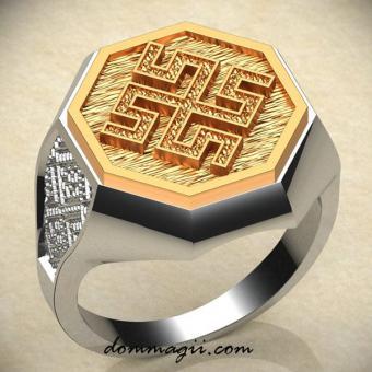 Кольцо боговник серебро с золотом